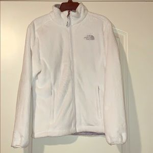 White fluffy zip up fleece by The North Face